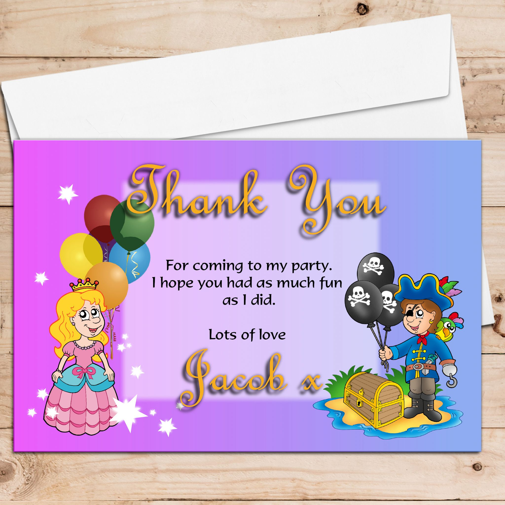 10 Personalised Pirate And Princess Birthday Party Thank
