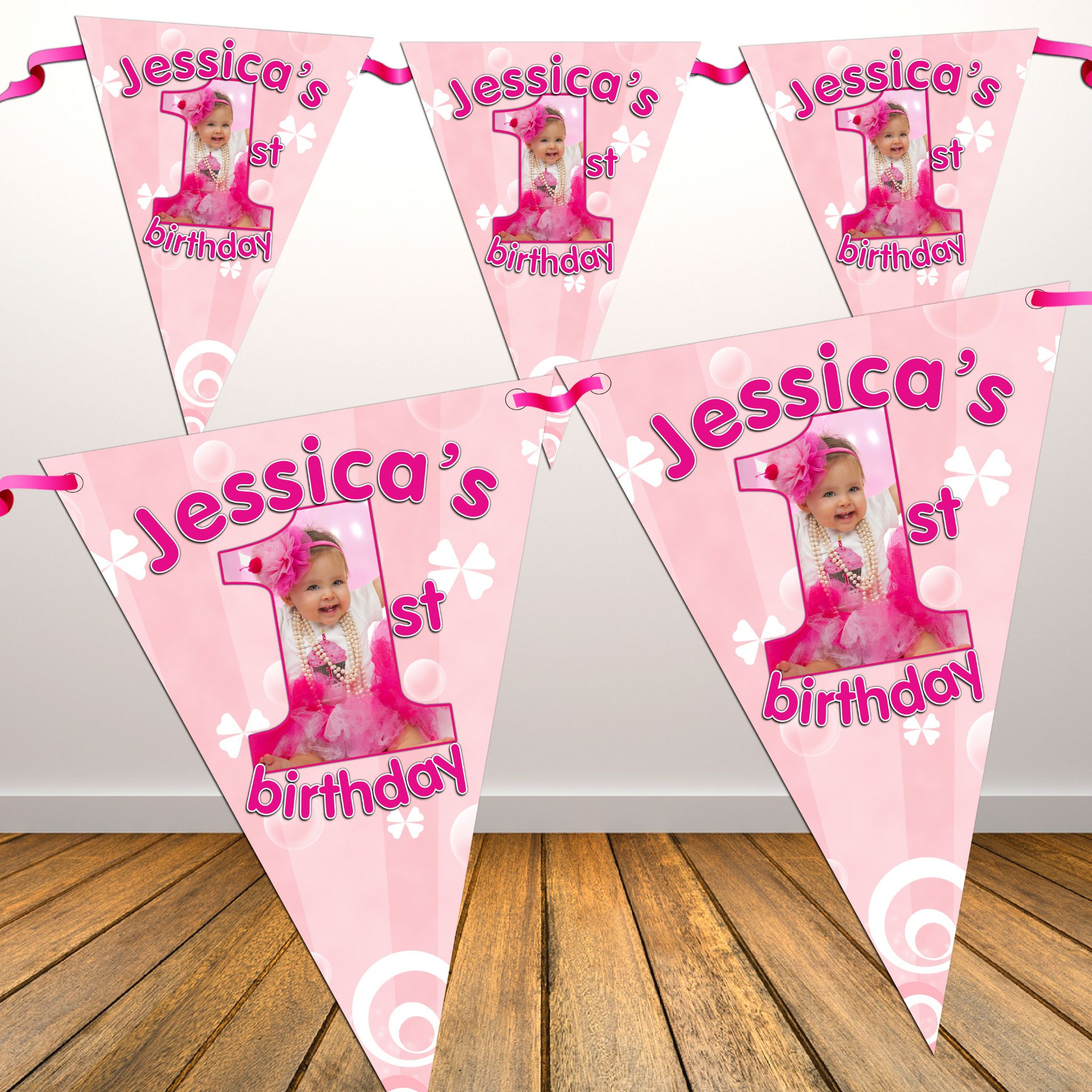 Personalised Girls Pink First 1st Birthday Flag Photo Bunting Banner N19