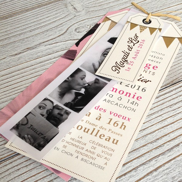 Wedding Invitation Pink Flags Previous Next