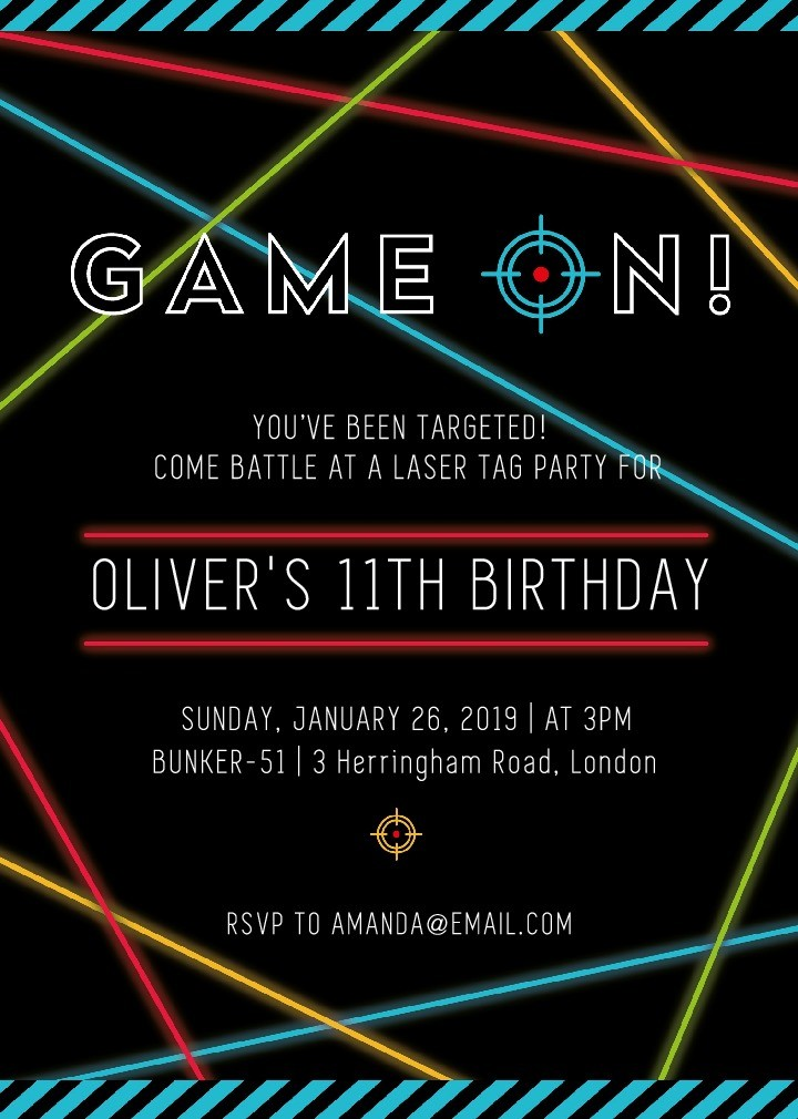 game on laser tag party invite press