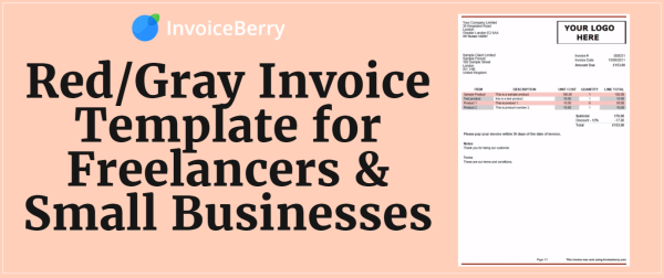 Our distinctive and professional red and gray invoice template is perfect for small businesses and freelancers