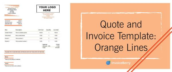Use our brilliant orange lines quote and invoice template for your business today