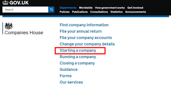 First, click on Starting a Company on the Companies House site