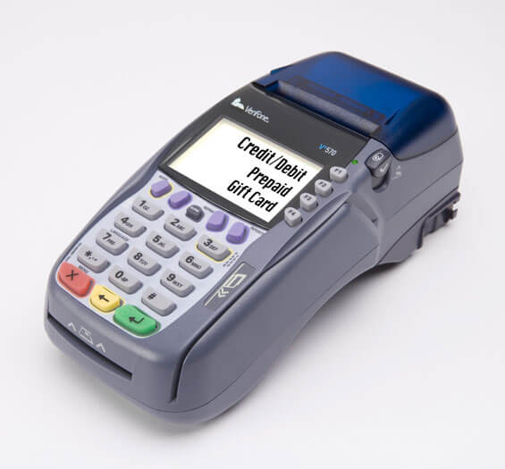 verifone vxa570 works with phone line or internet