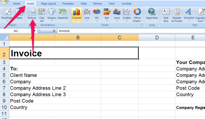 Now we will begin by adding our logo to the Excel invoice template