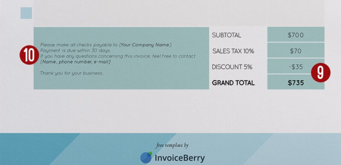 These are the last and also important parts of the invoice