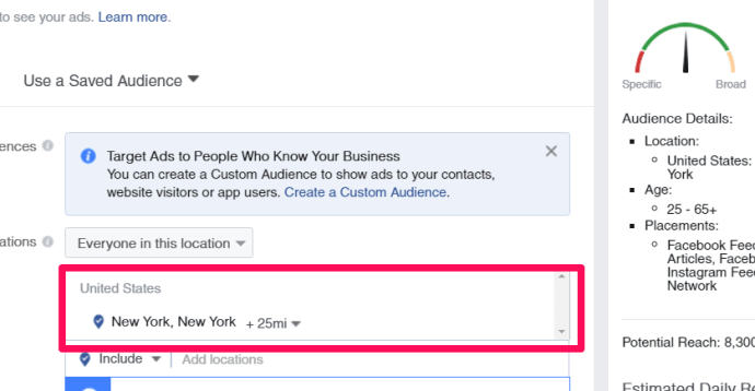When defining your audience, you can even go down to the city level