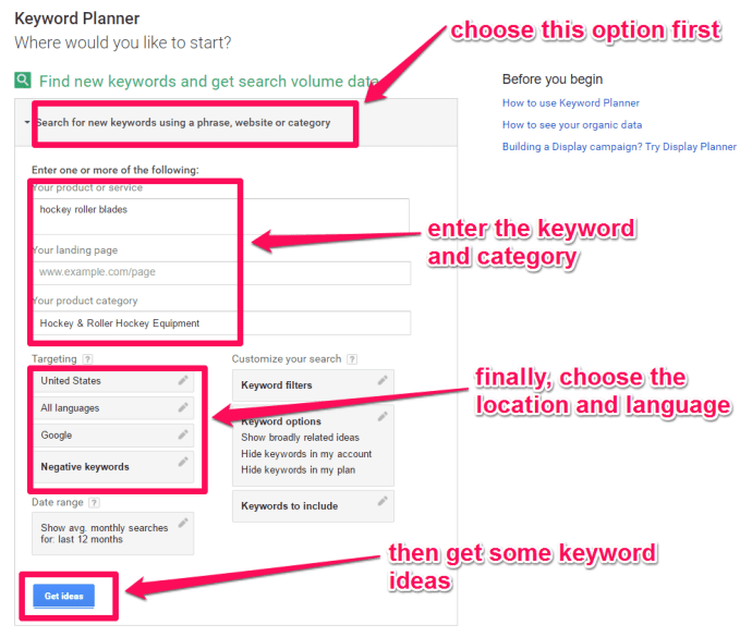 These are the necessary details you need to plan your keywords