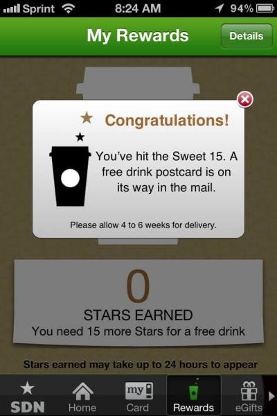 Starbucks has an engaging loyalty rewards card