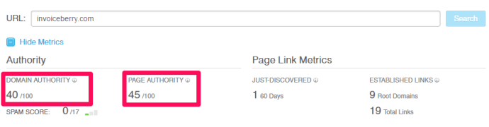 Here you can see InvoiceBerry's DA and PA from Moz's Open Site Explorer