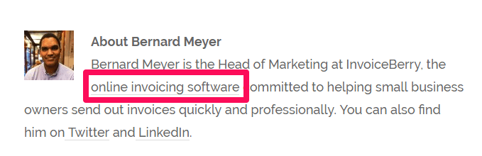 """Here's an example of anchor text on the term """"online invoicing software"""" on a guest post for Millo.co"""