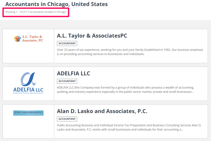 Accountant directory listing firms in Chicago.