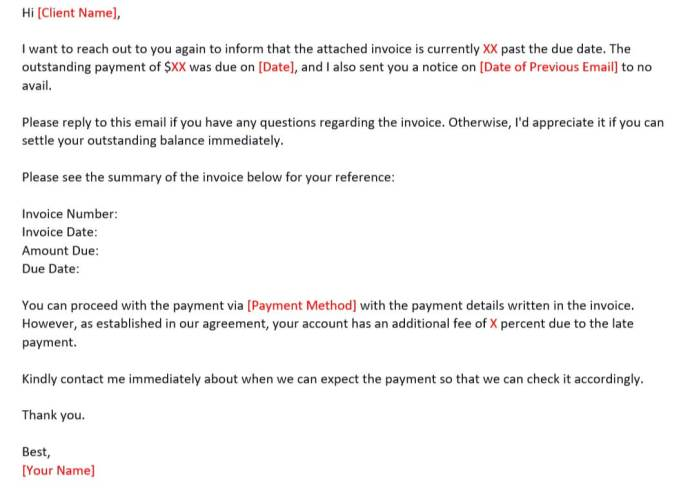 Email Reminder Template on Late Payment for 30-60 Days