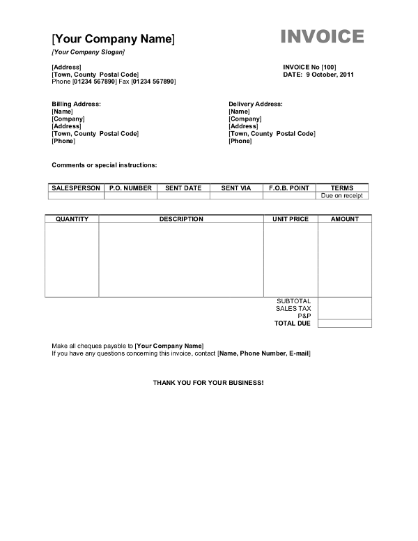 Free Invoice Templates Online. Free Invoice Templates For Word