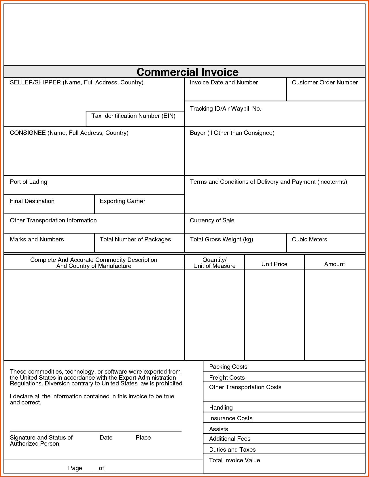 ups commercial invoice pdf