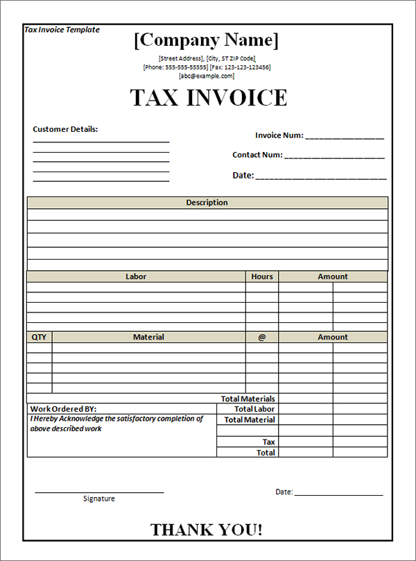 Tax Invoice Template FREE DOWNLOAD - Free invoices templates