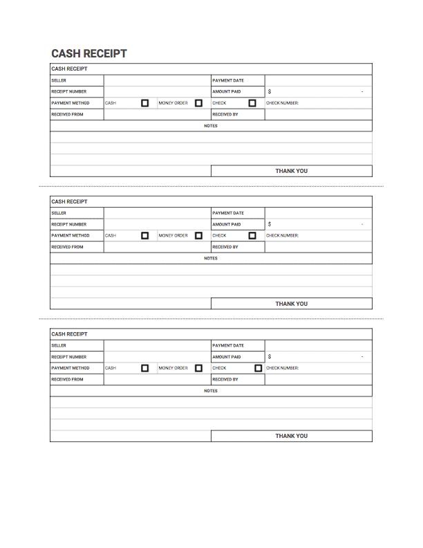 Cash Receipt Templates Free Download Invoice Simple