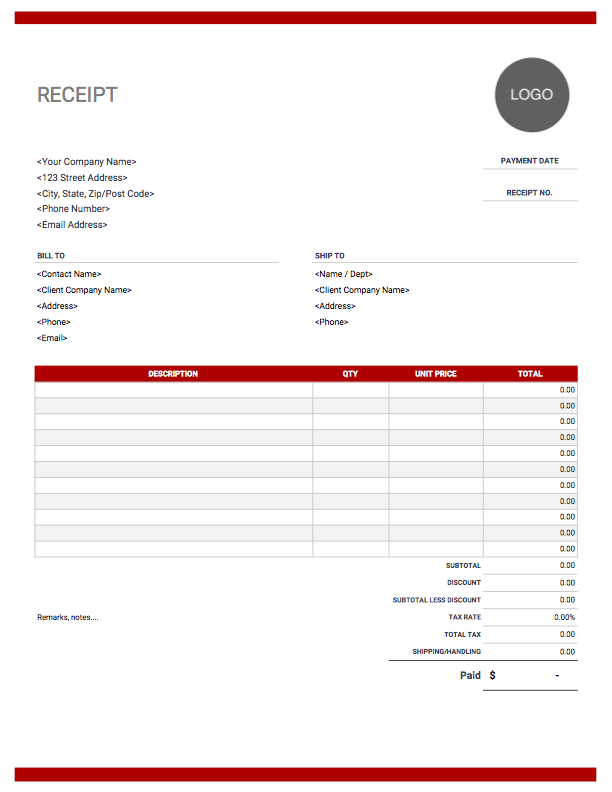 Receipt Templates Free Download Invoice Simple