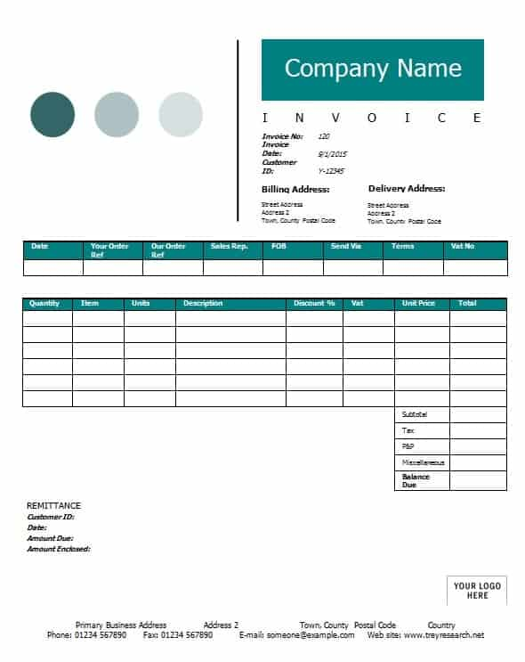 Contractor Invoice Template Printable Word Excel Invoice - Word template for invoice