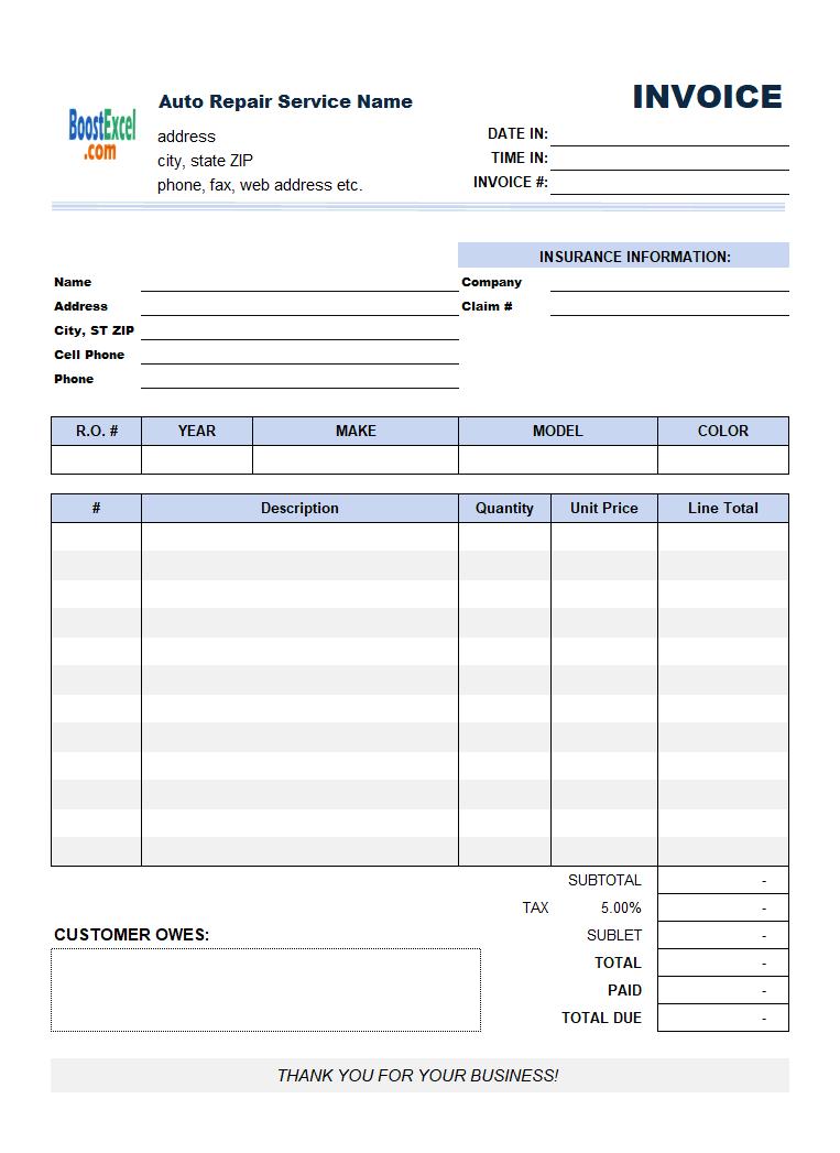 Auto Repair Invoicing Sample 2