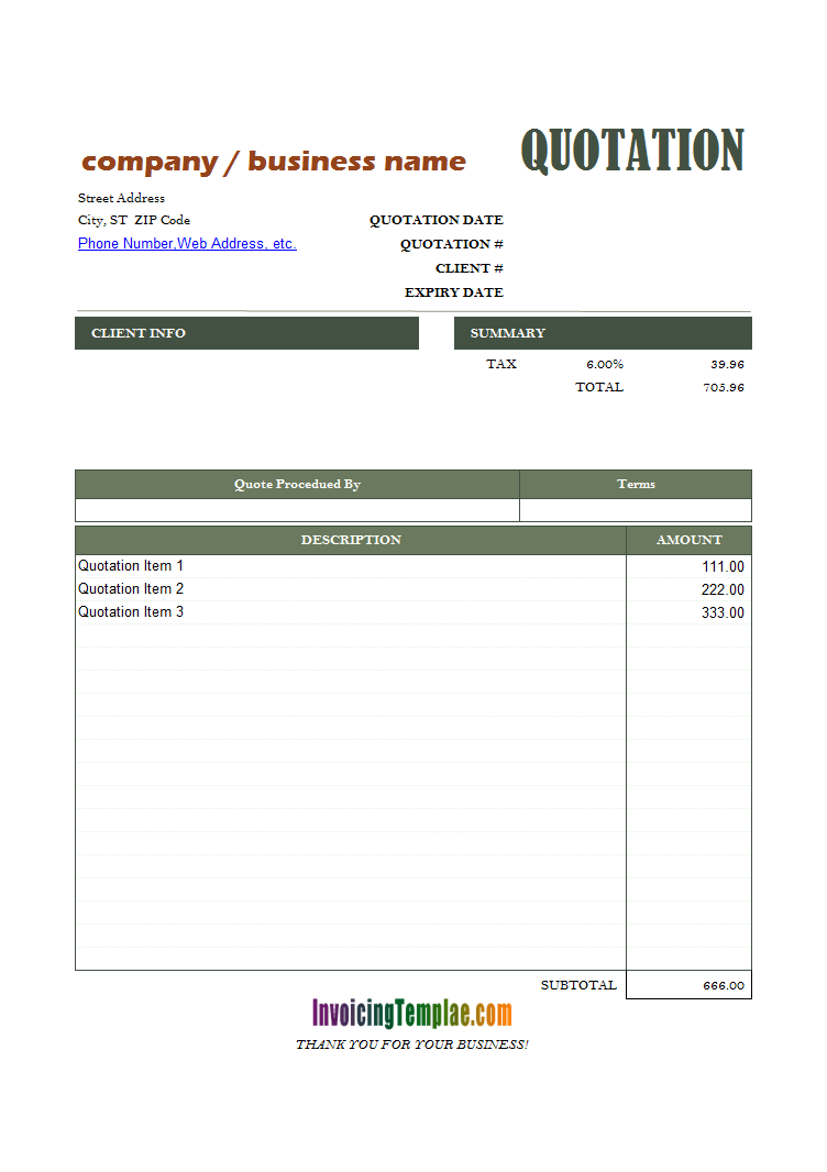 General Quote Template For Excel