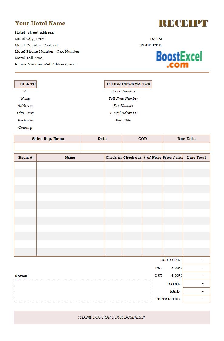 Room Design Excel Template