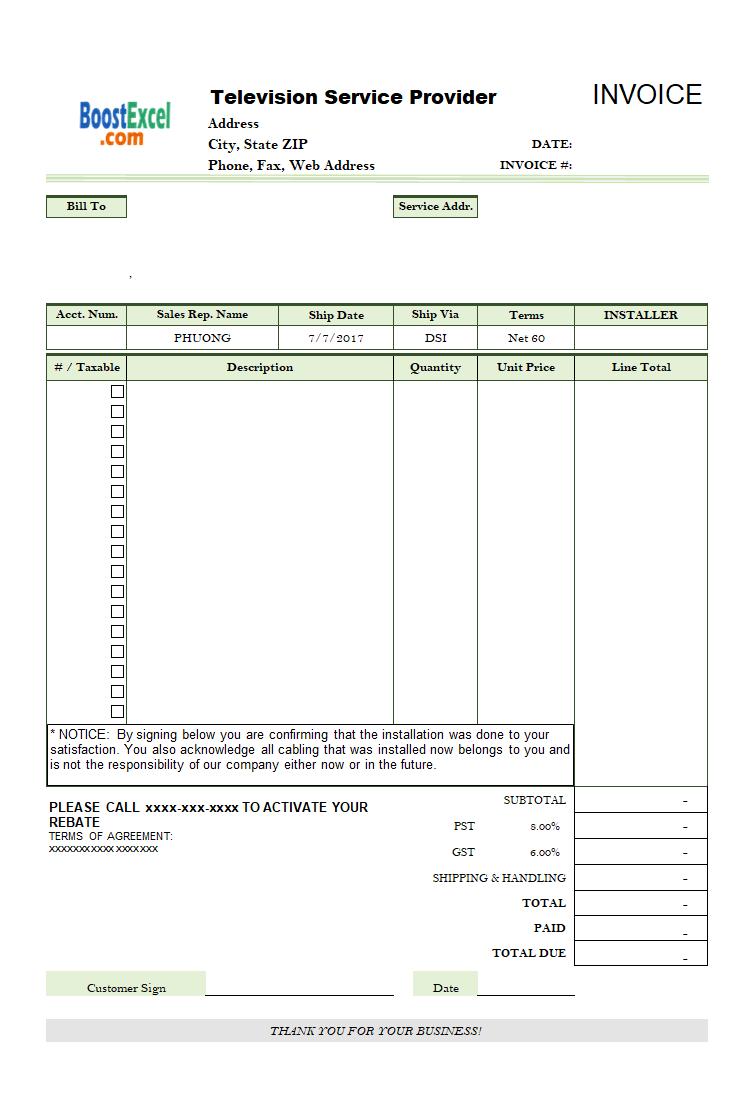 Free Tree Service Invoice Template