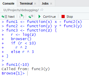 browser statement in R code