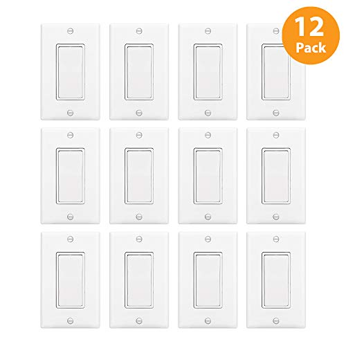 Read more about the article 12 Pack – ELECTECK Single Pole Rocker Light Switch, 15A 120/277V, Wall Plate Included, UL Certified, White