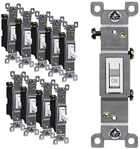 Read more about the article ENERLITES Toggle Light Switch, Single Pole, 15A 120-277V, Grounding Screw, Residential Grade, UL Listed, 88115-W-10PCS, White (10 Pack), 10