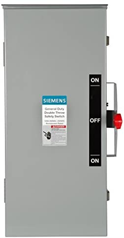 Read more about the article Siemens DTGNF323R 100-Amp, 3 Pole, 240-volt, 3 Wire, Non-Fused General Duty, Double Throw, Type 3R