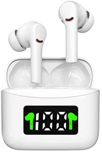 Wireless Earbuds, Bluetooth 5.2 Headphones Bluetooth Earbuds 35H Playtime in-Ear Wireless Headphones Hi-Fi Stereo Sweatproof Earphones Sport Headsets Built-in Mic for Running/Travel/Gym(White)