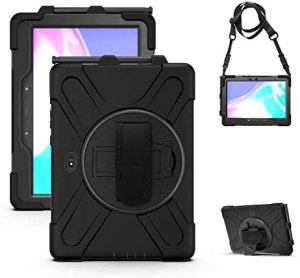 TH000 Rugged SM-T540 T545 T547 Cover for Samsung Galaxy Tab Active Pro Case – 10.1 inch Shockproof Heavy Duty Protective Tough Bumper Shell with Pen Holder/Stand/Shoulder Strap