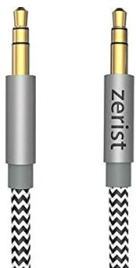 Zerist 3.5mm AUX Audio Cable Male to Male 4FT/1.2M Nylon Braided Stereo Jack Cable for iPhone, iPod, iPad, Android Samsung Smartphones, Tablets, Sound Box,Car, MP3 Players and More-Grey