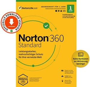 Norton 360 Standard 2020 | 1 Gerät | Antivirus | Unlimited Secure VPN & Passwort-Manager | PC/Mac/Android/iOS | Aktivierungscode per Email