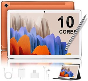 5G Tablet 10,8 Zoll FHD+Display 4GB RAM 64GB ROM Android 10.0 Zertifiziert von Google GMS 2,3 GHz Deca-Core Tablet PC 8000mAh LTE Dual-SIM Dual-Kamera 8MP+16MP Tablets mit WiFi,Bluetooth,GPS(Orange)