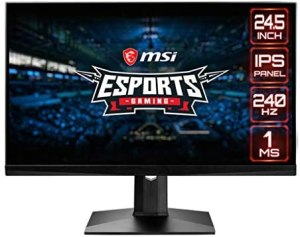 MSI Optix MAG251RX Gaming-Monitor 24,5 Zoll, Display 16:9 FHD (1920×1080), Frequenz 240Hz, Reaktionszeit 1ms, IPS-Panel, AMD FreeSync, Nvidia G-Sync, HDR 400, schwarz
