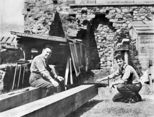 Minister Bob Craig and craftsman Joe Blair prepare the roof ties (Joe Blair archive)