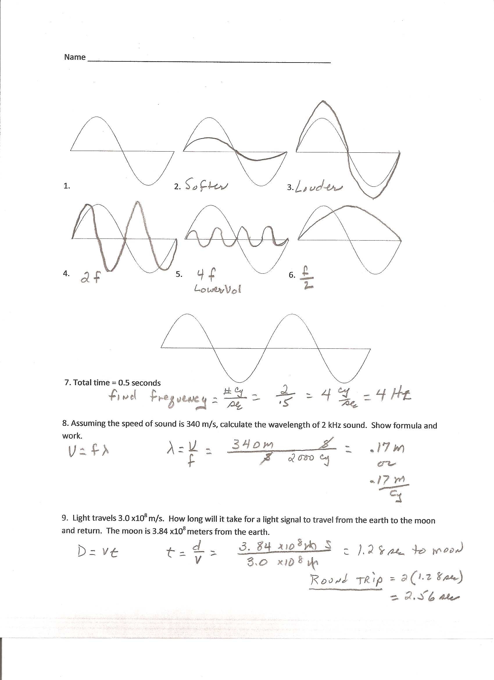 Sound Wave Worksheet Answer Printable Worksheets And