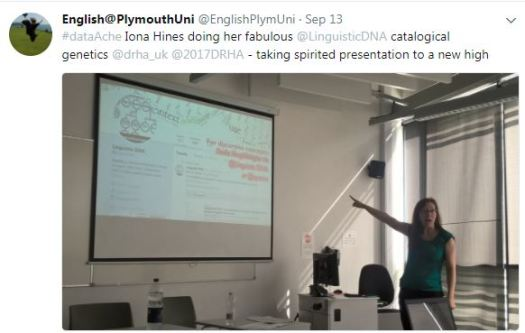 """Tweet from English at Plymouth Uni with photo from presentation and """"taking spirited presentation to a new high""""."""
