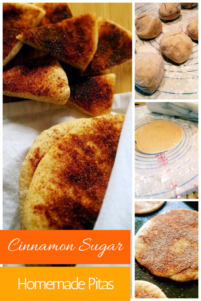 Homemade pita bread made easy! Follow these simple steps to make perfectly baked cinnamon sugar pita bread in your food processor or stand mixer.