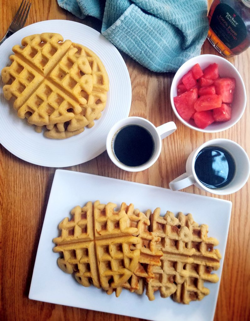 Healthy homemade waffles use chickpeas and cottage cheese to create a dreamy batter that will turn you into a breakfast eater every morning. They're also great as dessert!