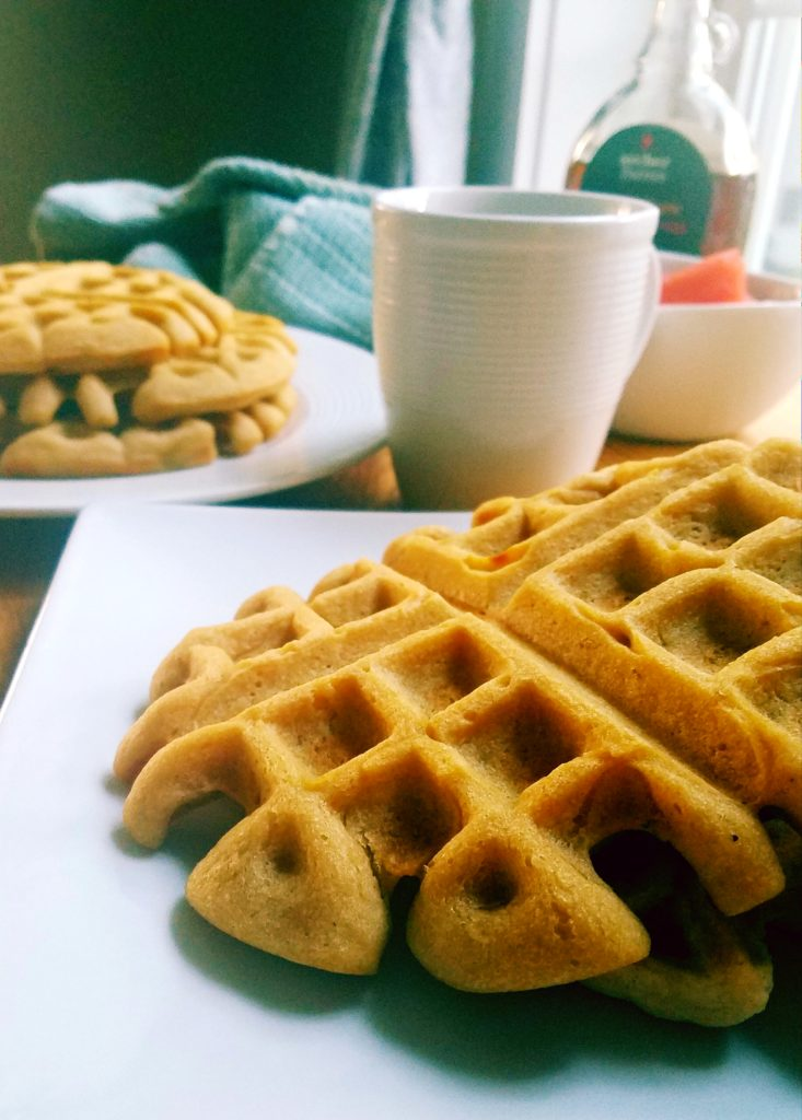 Why buy the boxed waffle mix when you can make a 7 minute homemade healthy waffle batter from scratch?! It's slightly sweet, fluffy on the inside, crispy on the outside waffle you'll want to eat every morning for breakfast. #healthybreakfast