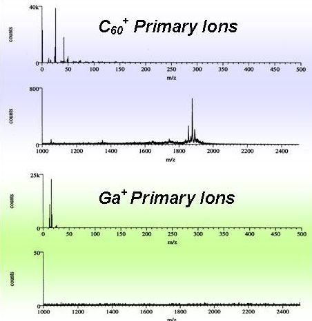 Spectra of Gramicidin D under Ga+ and C60+ bombardment.
