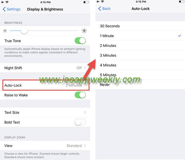 screen auto-lock time settings on iphone 8, iphone 8 plus, iphone 8s, iphone x