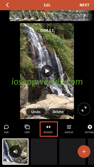 reverse video on iphone using videoshop video editor