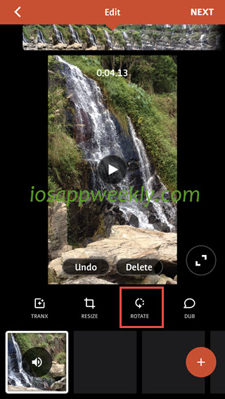 rotate video on iphone using videoshop video editor