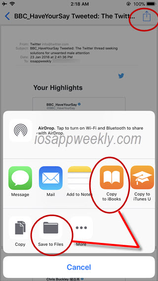 save email as pdf on iphone