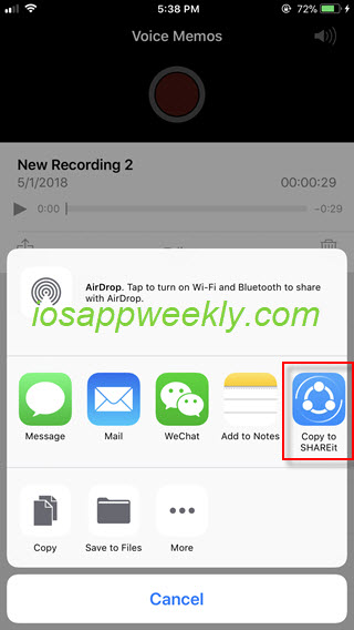 send voice memo from iphone through shareit