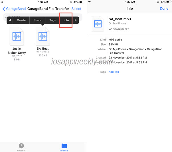 view file info in files app on iphone